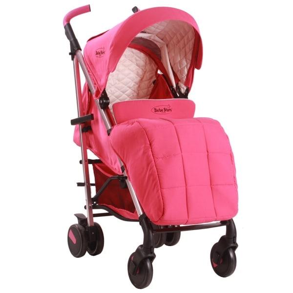 Lightweight Mito Pink Stroller With Footmuff