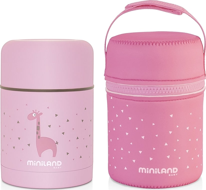 MINILAND Silky Food Thermos Bottle Pink 600ml