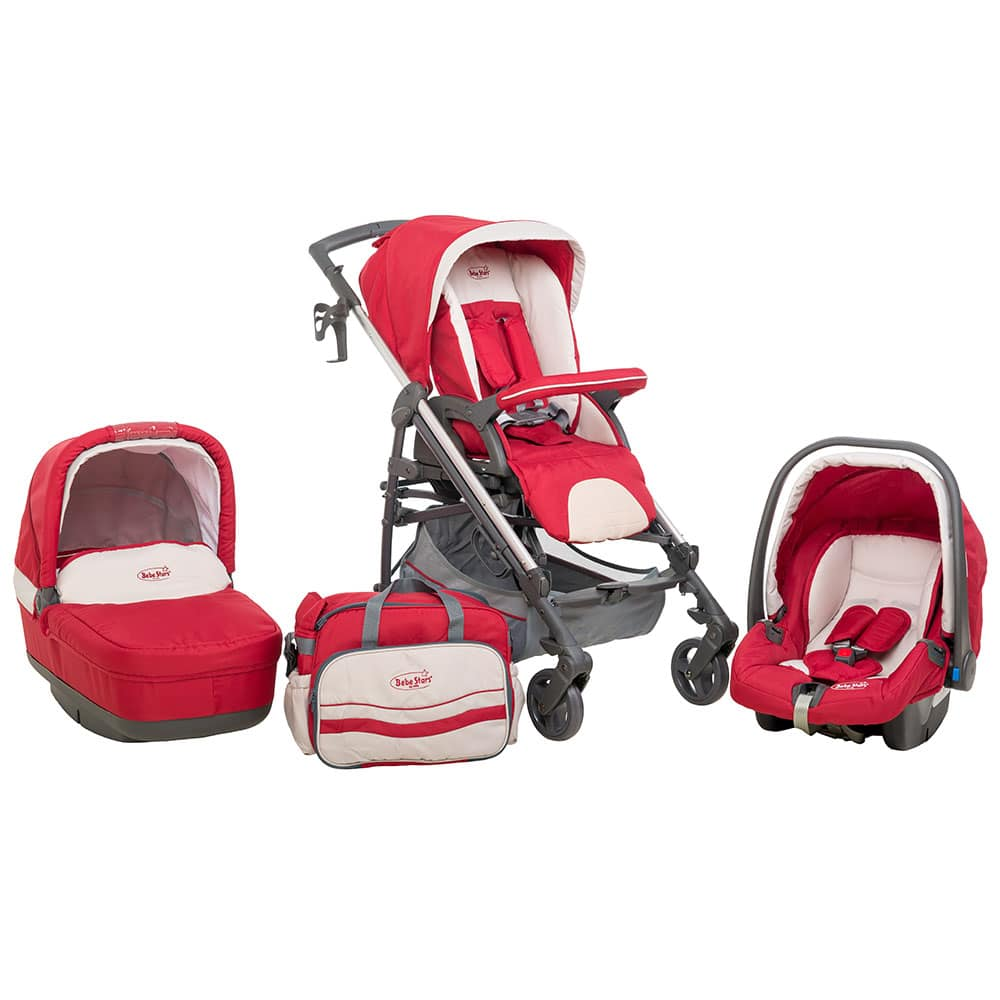 10204d38d4d Bebe Stars Caprice 3 In 1 Red Παιδικό Καρότσι Αλουμινίου - Bebe Home