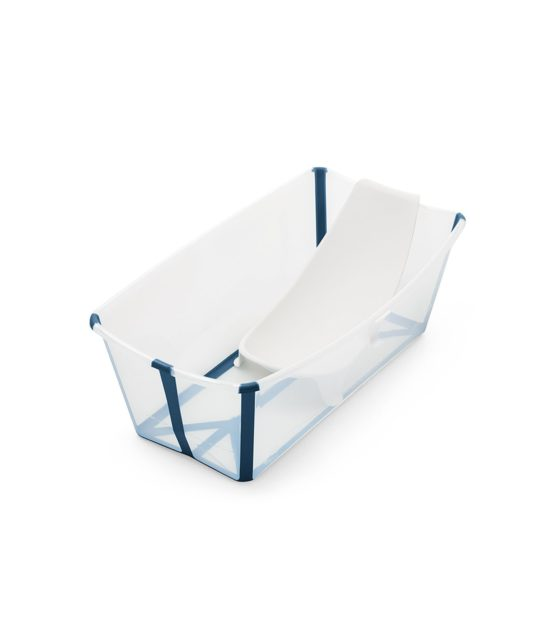 Stokke Flexi Bath Bundle με υποστήριξη και θερμοευαίσθητη βαλβίδα Transparent Blue