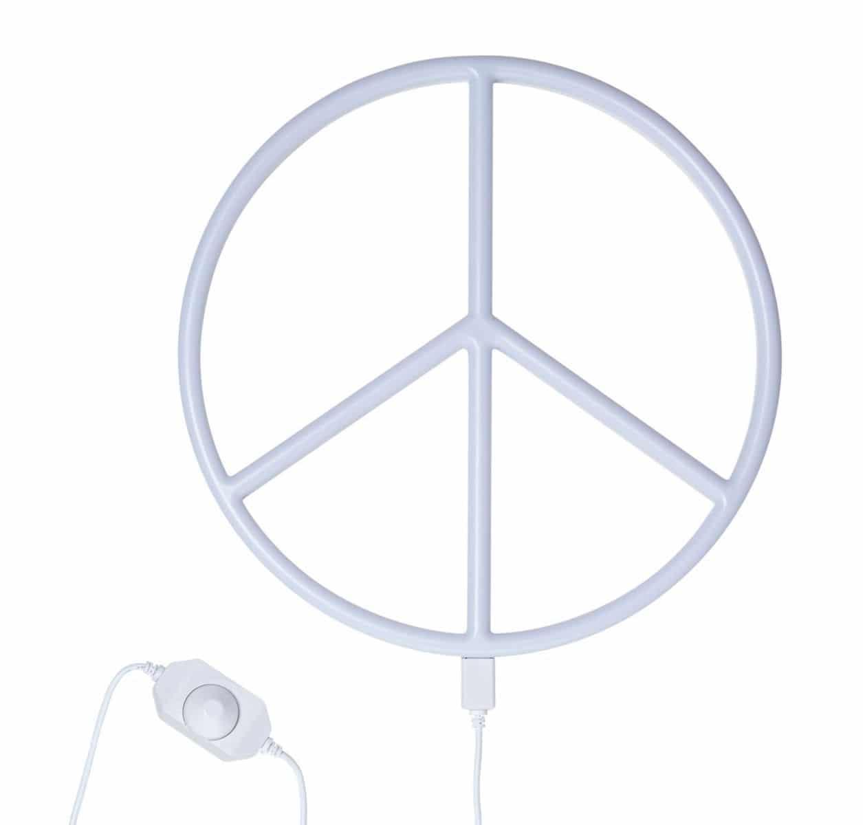 """A little lovely company Φωτιστικό Neon """"Peace"""" Λευκό"""