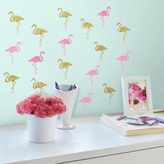 "ROOMMATES Αυτοκόλλητα Τοίχου ""Flamingos"""