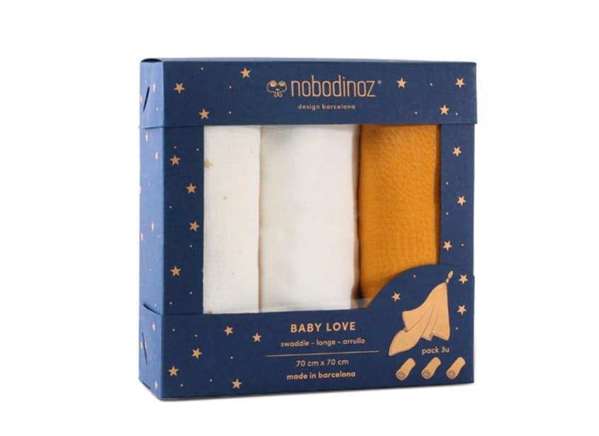 Nobodinoz. Set of 3 Baby Love Small Blankets 70×70 cm Yellow