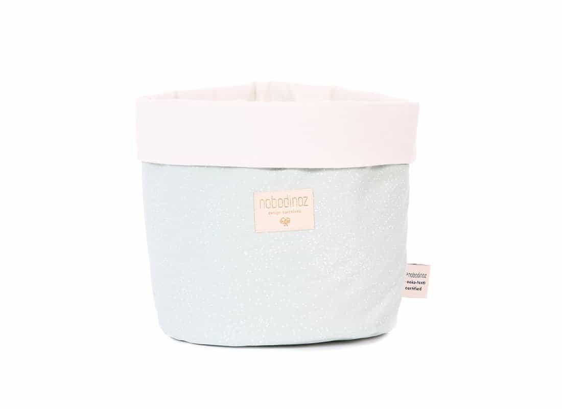 Nobodinoz. Panda Large Basket White Bubble/Aqua