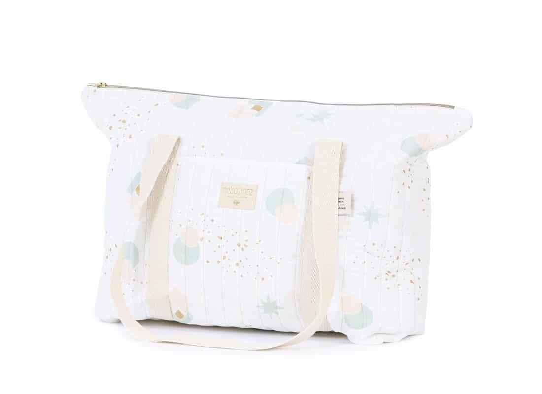 Nobodinoz. Paris Baby Maternity Bag Aqua Eclipse/White