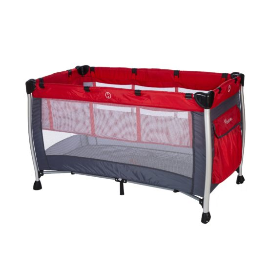 BABY ADVENTURE Παρκοκρέβατο 2 Θέσεων HOLIDAY ALUMINIUM Red Grey