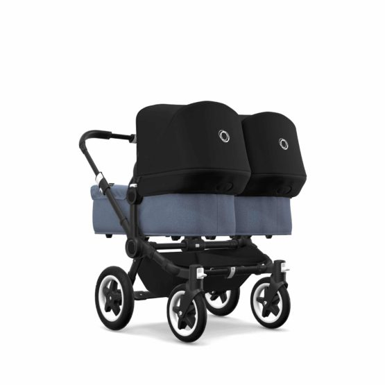 Bugaboo Donkey 2 Twin Καρότσι Διδύμων Black/Blue Melange – Black Canopy
