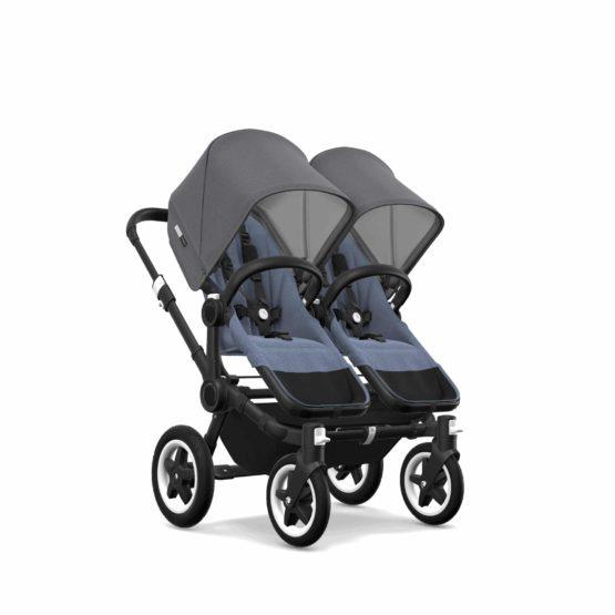 Bugaboo Donkey2 Twin Chassis Black Seat Bm Sun Canopy Gm