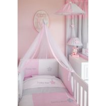 Baby Oliver Προίκα κρεβατιού σετ 3 τμχ Lucky Star Pink des.308