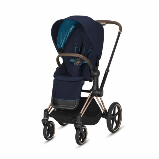 "Cybex Καρότσι Priam Frame Rosegold – Seat Nautical Blue ""Platinum Collection"""