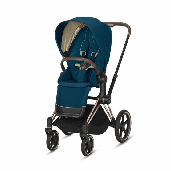 "Cybex Καρότσι Priam Frame Rosegold – Seat Mountain Blue ""Platinum Collection"""