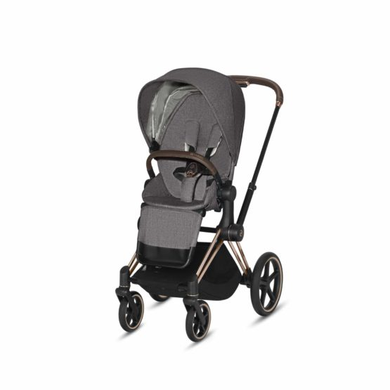 "Cybex Καρότσι Priam PLUS Frame Rosegold – Seat Manhattan Grey ""Platinum Collection"""