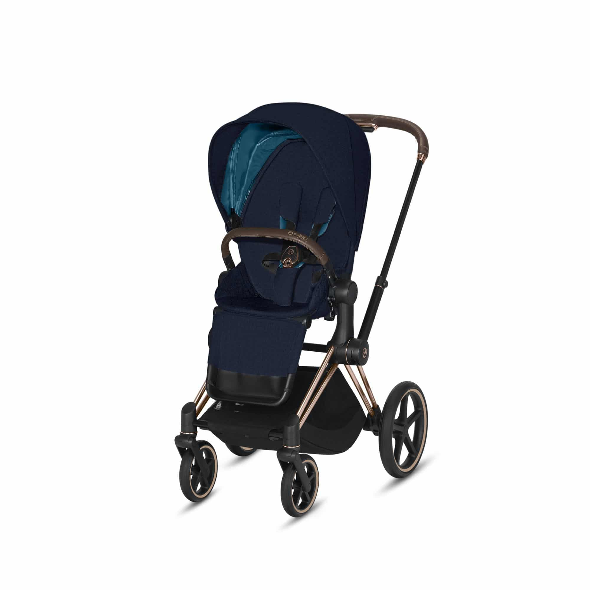"Cybex Καρότσι Priam PLUS Frame Rosegold – Seat Midnight Blue ""Platinum Collection"""
