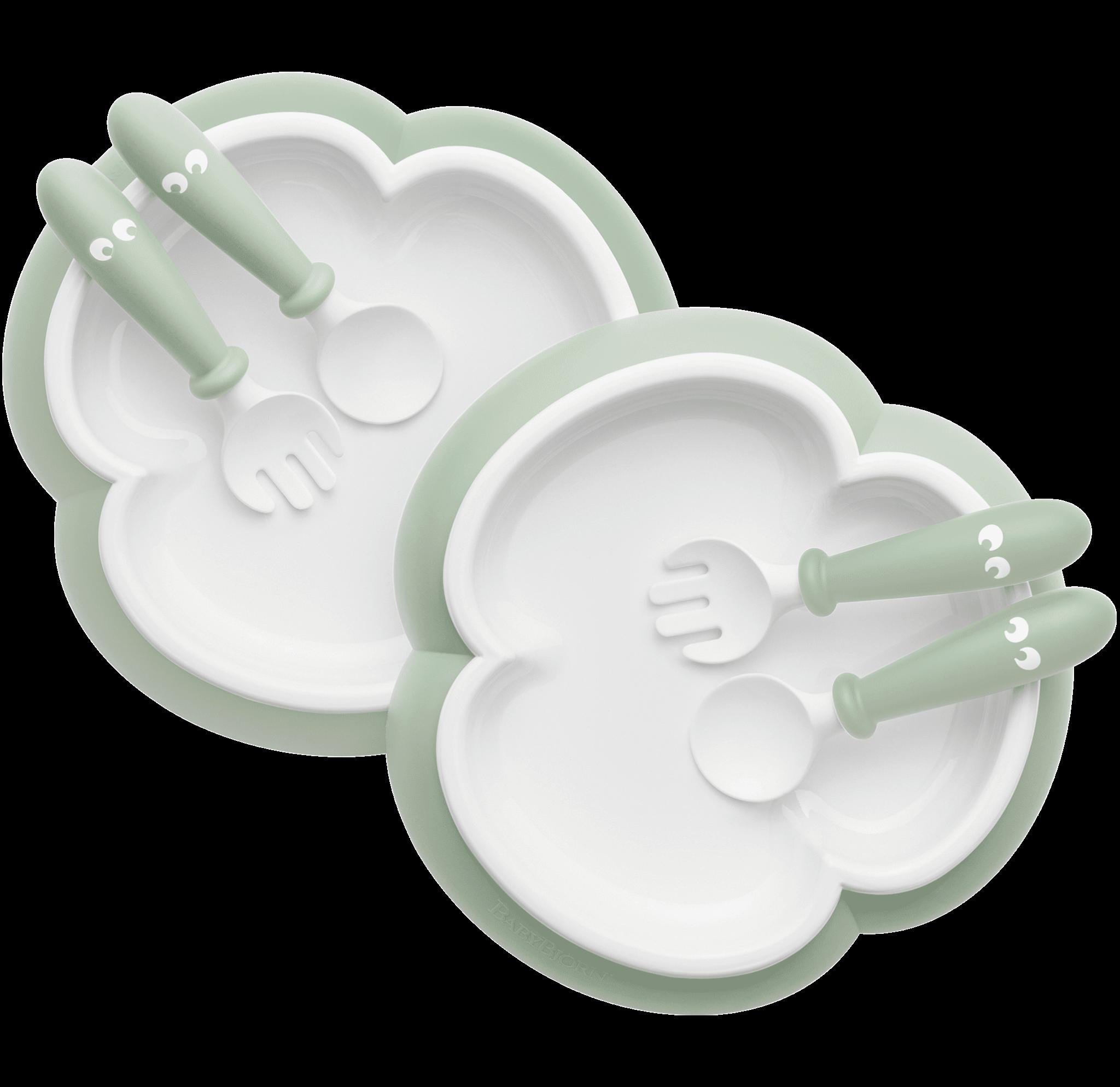 BabyBjörn σετ κουταλοπίρουνα & πιάτο Powder Green