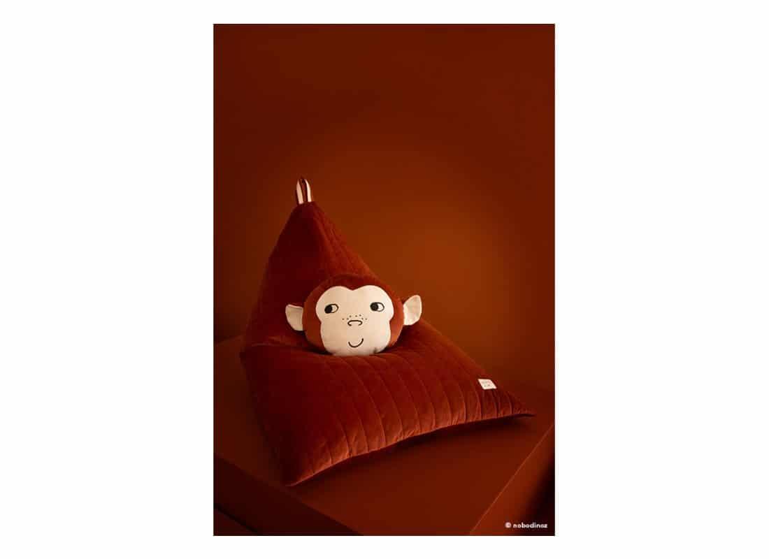 Essaouira Velvet Beanbag Pouf Puf Monkey Cushion Coussin Cojin Savanna Wild Brown Nobodinoz 1b