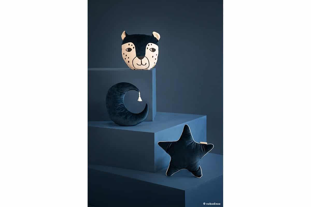 Leopard Pierrot Moon Aristote Velvet Cushion Coussin Cojin Savanna Night Blue Nobodinoz 1b