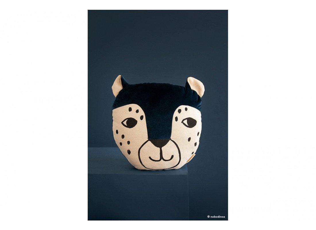 Leopard Velvet Cushion Savanna Night Blue Nobodinoz 1b