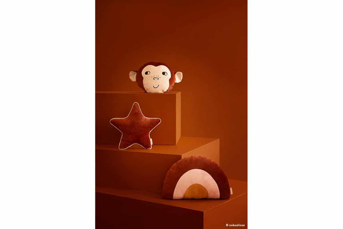 Monkey Aristote Star Rainbow Velvet Cushion Coussin Cojin Savanna Wild Brown Nobodinoz 1b