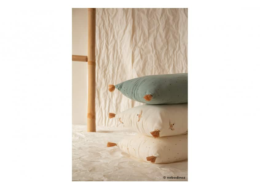 Sublim Cushion Honey Sweet Dots Haiku Birds Toffee Dots Eden Green Nobodinoz 4