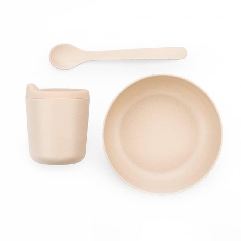 EKOBO. Bamboo σετ βρεφικού ταΐσματος (ροζ)