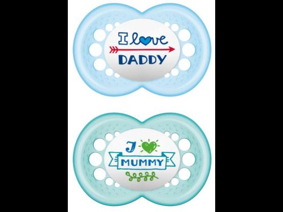 MAM Πιπίλα I love Daddy & Mummy Σιλικόνης 16+ μηνών (2τμχ) Μπλε