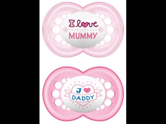 MAM Πιπίλα I love Daddy & Mummy Σιλικόνης 16+ μηνών (2τμχ) Ροζ