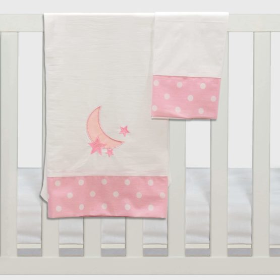 Abo Σετ σεντόνια καλαθούνας-λίκνου 3τμχ carousel ροζ