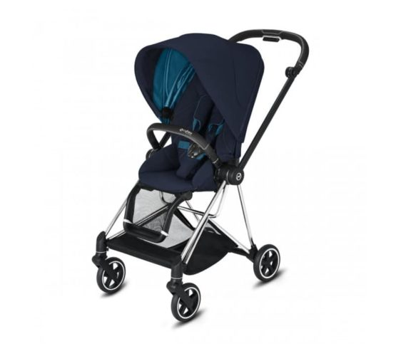"Cybex Καρότσι Mios Frame Chrome Black – Seat Nautical Blue ""Platinum Edition"""
