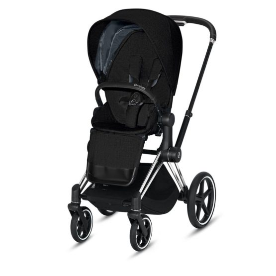 "Cybex Καρότσι Priam Frame Chrome Black – Seat Deep Black ""Platinum Collection"""
