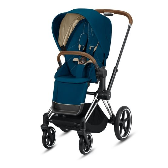 "Cybex Καρότσι Priam Frame Chrome – Seat Mountain Blue ""Platinum Collection"""