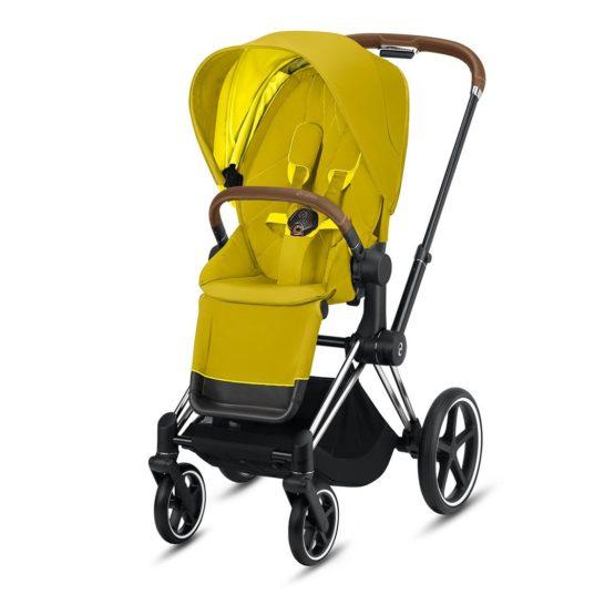 "Cybex Καρότσι Priam Frame Chrome – Seat Mustard Yellow ""Platinum Collection"""