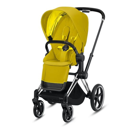 "Cybex Καρότσι Priam Frame Chrome Black – Seat Mustard Yellow ""Platinum Collection"""