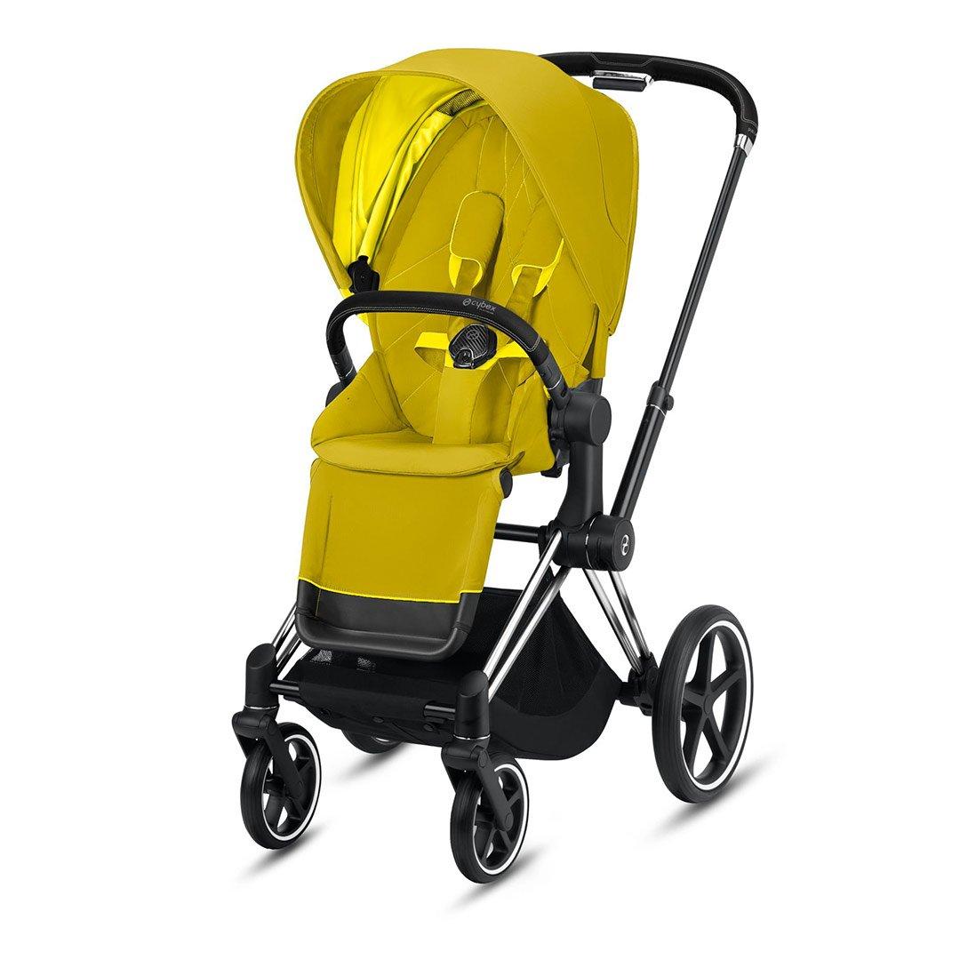 "Cybex Καρότσι Priam Frame Chrome Black – Seat Mustard Yellow ""Platinum Collection"""