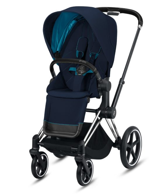 "Cybex Καρότσι Priam Frame Chrome Black – Seat Nautical Blue ""Platinum Collection"""
