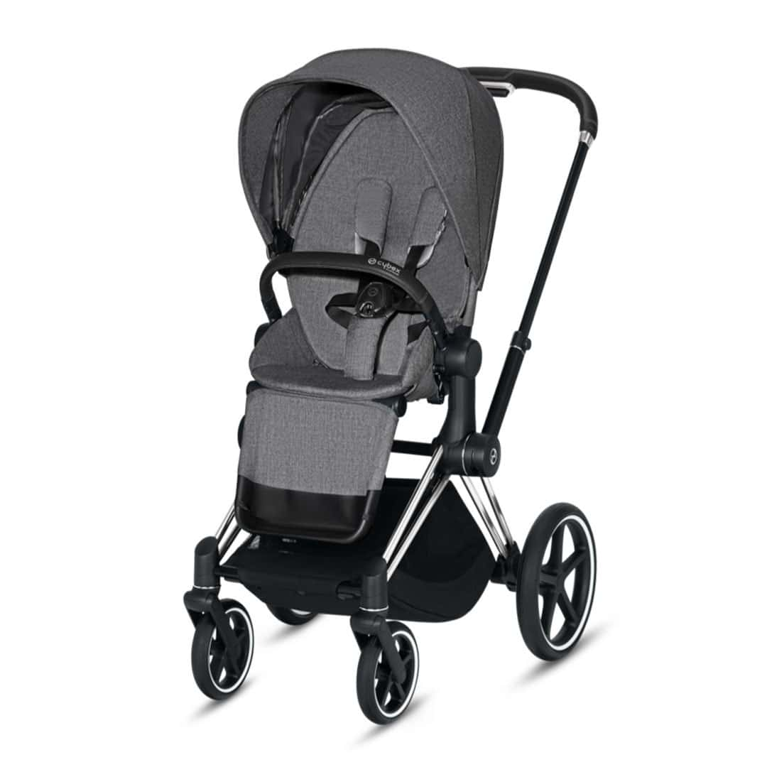 "Cybex Καρότσι Priam Frame Chrome Black – Seat Manhattan Grey Plus ""Platinum Collection"""