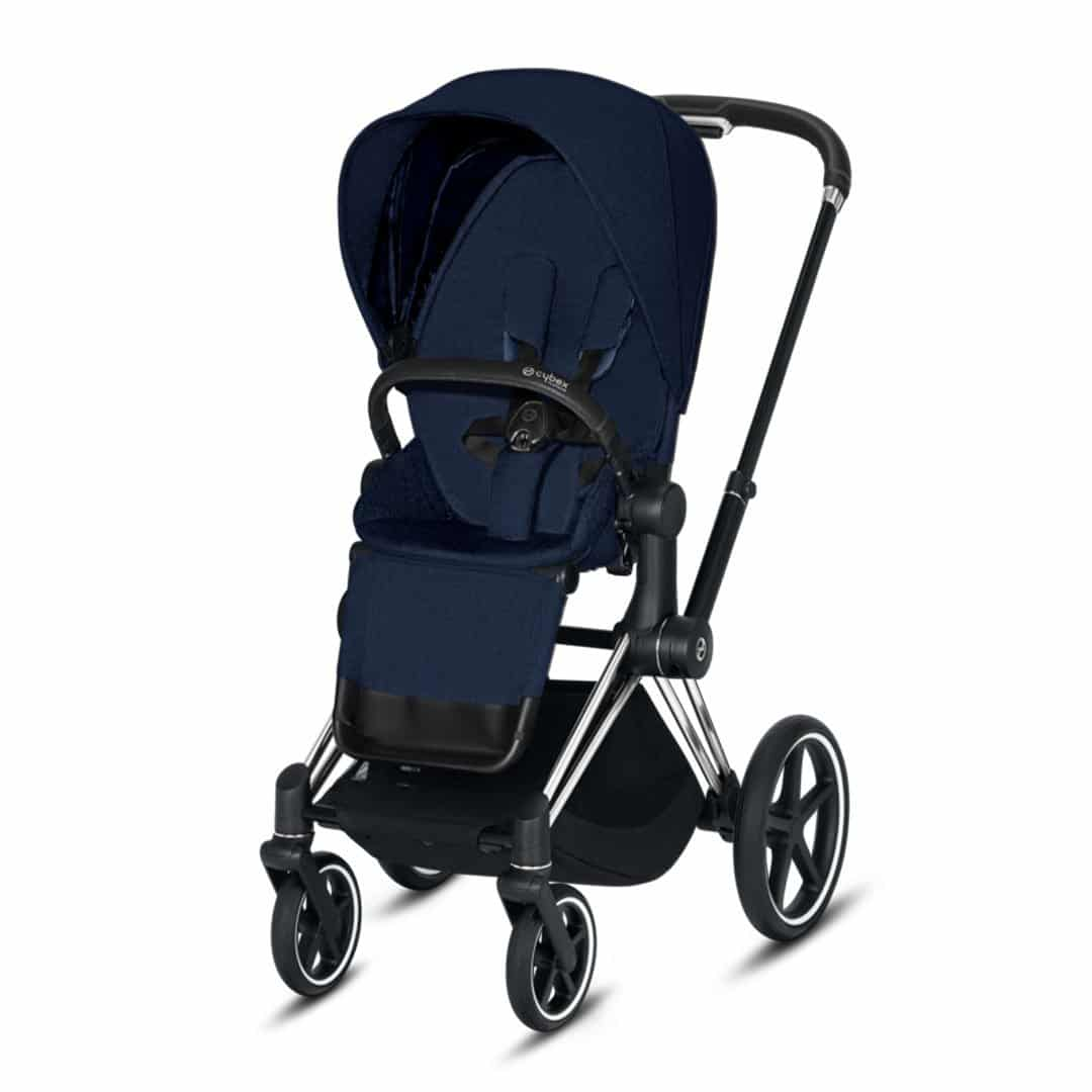 "Cybex Καρότσι Priam Frame Chrome Black – Seat Midnight Blue Plus ""Platinum Collection"""
