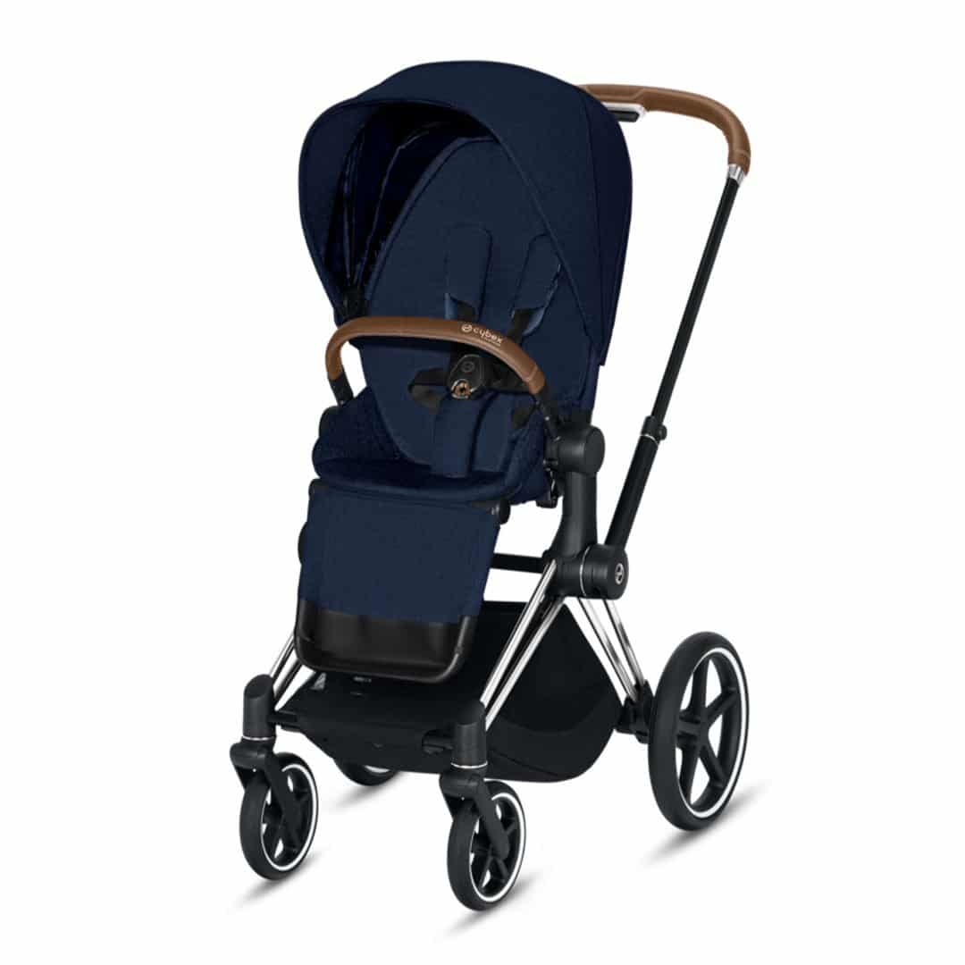 "Cybex Καρότσι Priam Frame Chrome – Seat Midnight Blue Plus ""Platinum Collection"""