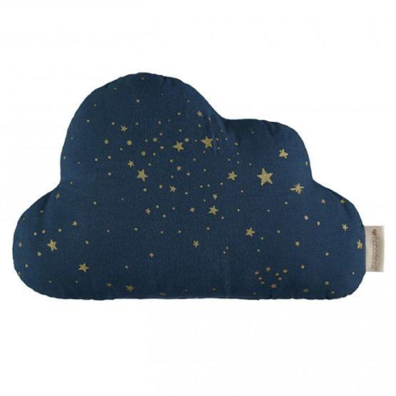 Nobodinoz. Μαξιλάρι συννεφάκι 24×38 Gold Stella / Midnight Blue