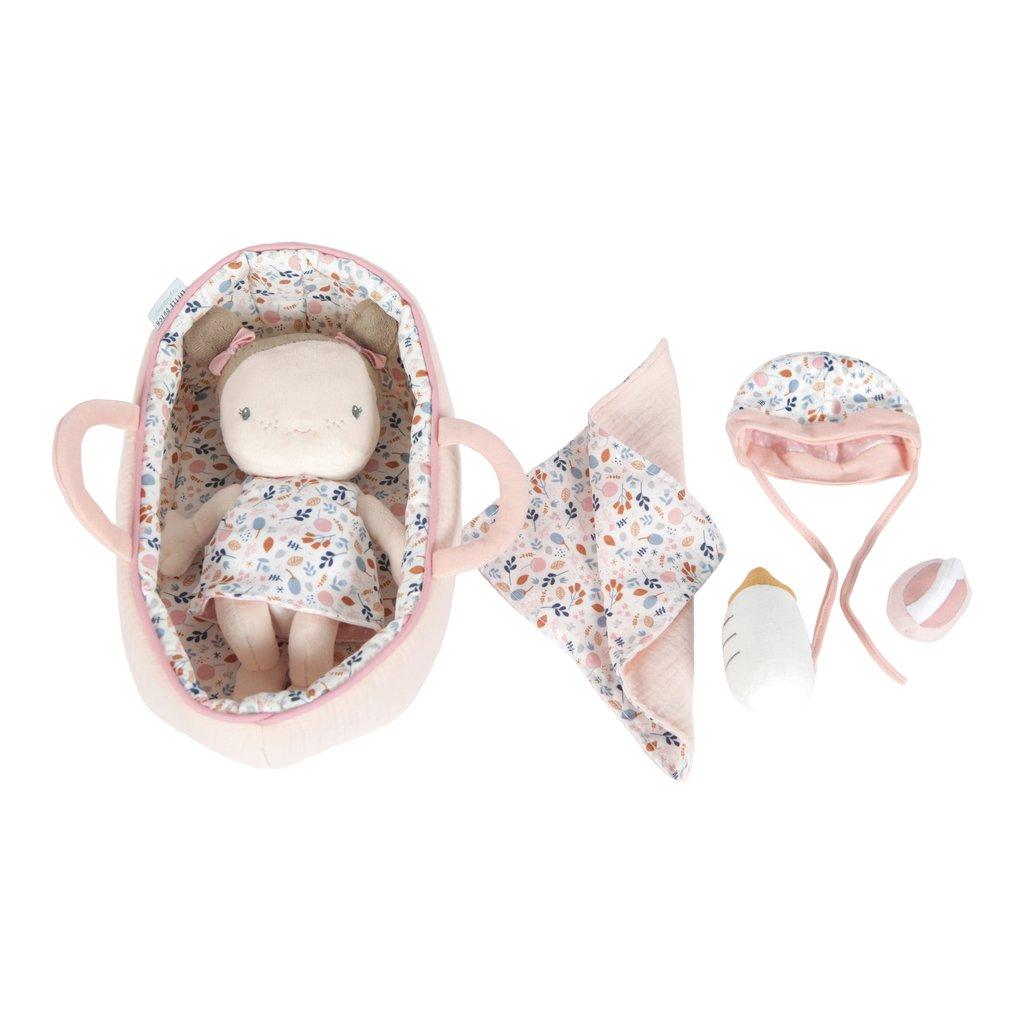 LITTLE DUTCH. Υφασμάτινο μωρό σε καλαθούνα Rosa