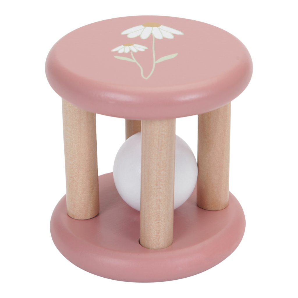 LITTLE DUTCH. Ξύλινη κουδουνίστρα Flowers (ροζ)