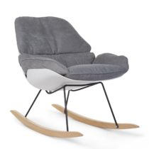 Nubie Rocking Lounge Chair In White And Grey 0