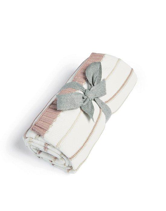 Mamas & Papas Κουβέρτα Πλεκτή Pink stripe