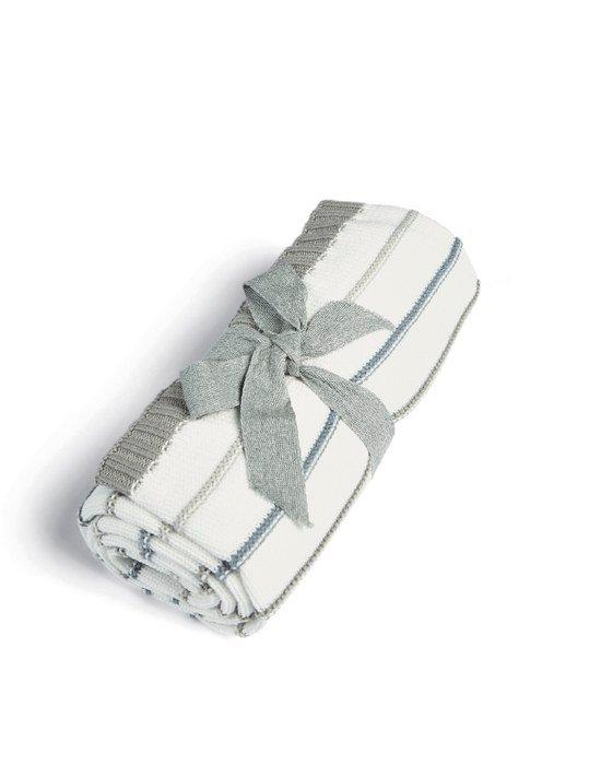 Mamas & Papas Κουβέρτα Πλεκτή Blue stripe W 70 x L 90cm