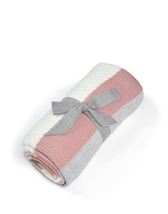Mamas & Papas Κουβέρτα Πλεκτή Small Multi stripe pink