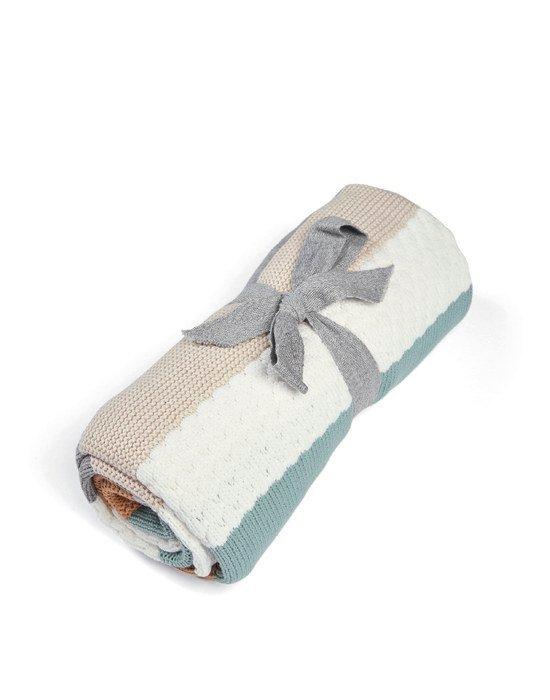 Mamas & Papas Κουβέρτα Πλεκτή Small Multi stripe blue W 80 x L 100cm