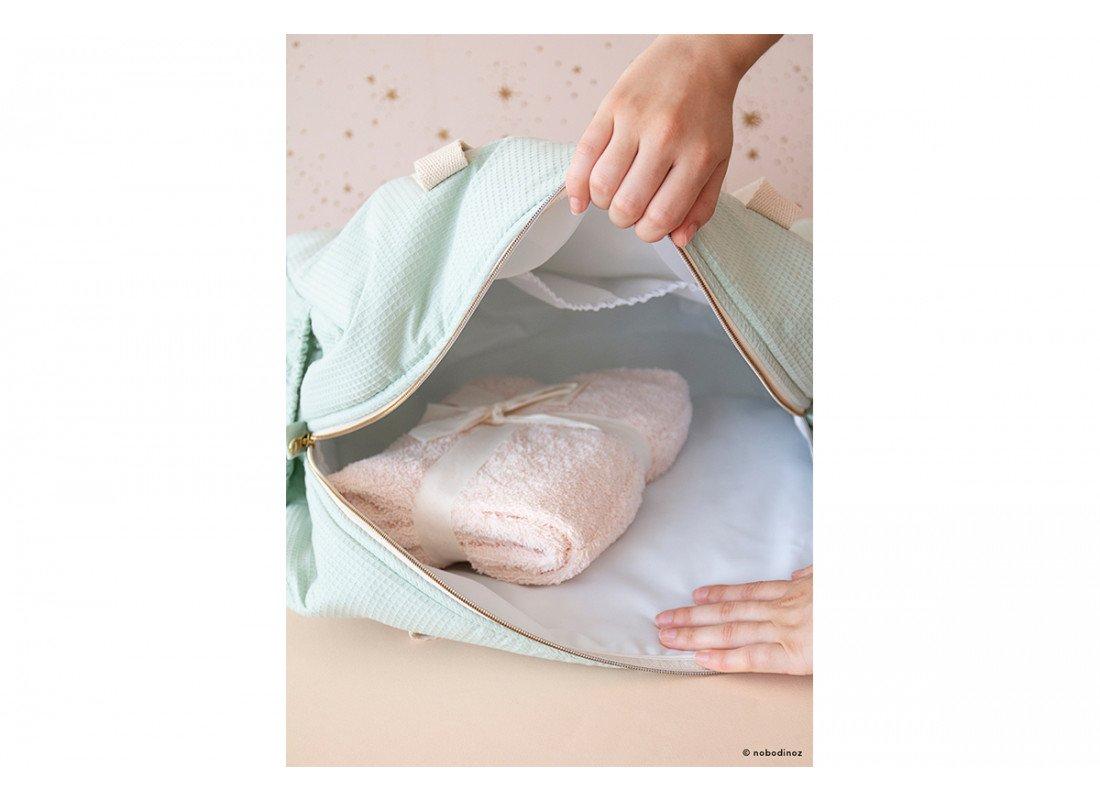 Mood Nobodinoz Opera Maternity Bag Green Opened Changing Pad Pink 1 1