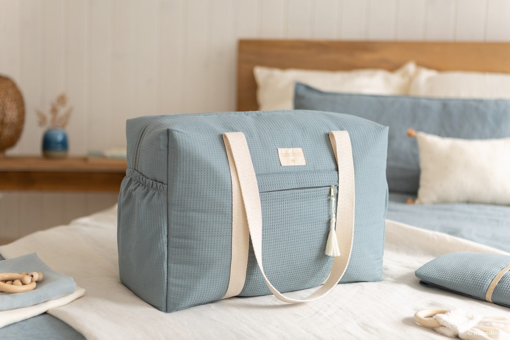 Opera Waterproof Maternity Bag Stone Blue Nobodinoz 2 8435574919236